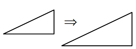 Two right triangles, with an arrow from smaller one to larger one.