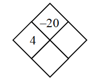 Diamond Problem. Left 4, Right blank, Top negative 20,  Bottom blank