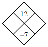 Diamond Problem. Left blank, Right blank, Top 12,  Bottom negative 7