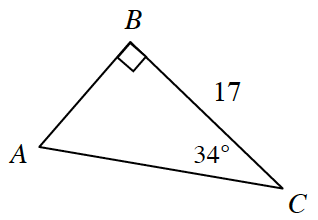 A right triangle A, B, C, with the following labels: Side B, C is labeled 17 angle B is 90 degrees, and angle C is 34 degrees.