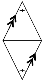 The triangles with a base in common. The angle opposite the common base have 1 tick mark for both triangles. Two of the sides are parallel.