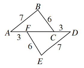 Two triangles A, B, C and D, E, F.   Side A, B and E, D, are both 7.  Side B, C and side E, F are both, 6.  The length of F, C, is shared as part of the base for both triangles. The two bases are translated 3 units apart. Thus, A, F is 3 and C, D is 3.