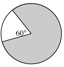 A circle with a 60 degree angle section. The circle is shaded everywhere except for the 60 degree section.