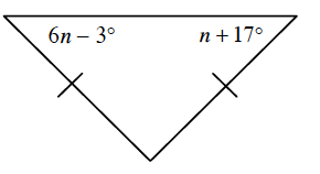 A triangle with 2 sides marked with one tick mark. Angles opposite each side with a tick mark are, 6, n minus 3 degrees and n + 17 degrees,