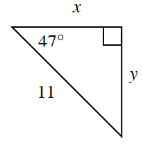 A right triangle with legs, x, and y. The hypotenuse is 11. A 47 degrees angle is opposite y.