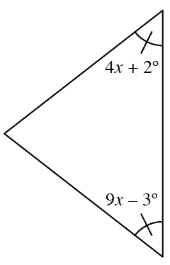 Triangle, with right side vertical, top right angle labeled, 4 x, + 2 degrees, bottom right angle labeled, 9 x, minus 3 degrees, each with 1 tick mark.