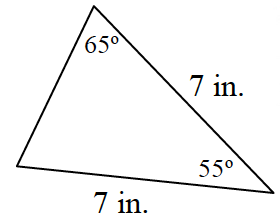 A triangle, where two sides are labeled, 7, inches with the angle between, labeled 55 degrees.  One of the base angles is labeled 65 degrees.