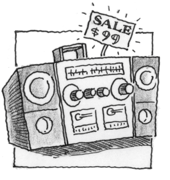 A radio on sale for $99