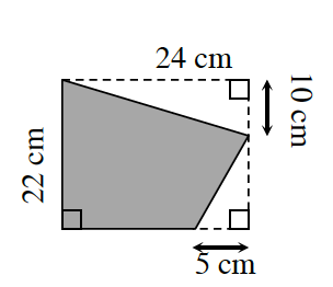 An irregular quadrilateral enclosed by a rectangle. The 2 shapes share the left base, 22 centimeters. Outside the shaded irregular quadrilateral are 2 right triangles, one at the top right corner with a leg, 24, also the length of the rectangle, & another leg, 10, down the right side of the rectangle. The other right triangle is at the lower right corner of the rectangle with a leg, 5, going left from the bottom right rectangle corner, and another leg, 12, up the right side of the rectangle.