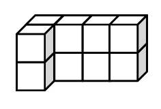 3-D cube model: The bottom layer has 2 rows aligned on the left. Row 1: 4 cubes, Row 2: 1 cubes. An identical second layer is placed on top of the first layer.