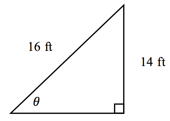 A right triangle with a leg of 14 ft and hypotenuse of 16 ft. The angle, theta, is opposite the 14 foot side.