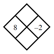 Diamond Problem. Left 8, Right negative 2, Top blank, Bottom blank