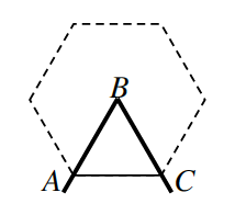 A regular hexagon with the center labeled, B, and two adjacent vertices, labeled, A, and, C, form a triangle, A, B, C.