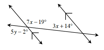 Figure 1: A transversal line cuts two parallel lines. About the point of intersection, of the left parallel line and the transversal line is the interior right angle, 7 X minus 19 degrees, and the exterior left angle, 5 Y minus 2 degrees. About the point of intersection, of the right parallel line and the transversal, is the interior left angle, 3 X, +, 14 degrees.