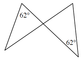Two intersecting line segments create two triangles by lines joining the ends at opposite sides. Each triangle has a 62 degree angle opposite the side with the same intersecting line.
