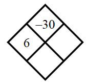 Diamond Problem. Left 6, Right blank, Top negative 30,  Bottom blank