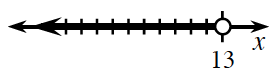 Shaded on number line, from opened circle on 13, to the left.