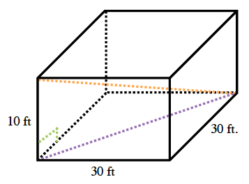 A box with the length and width each 30 feet, and height,10 feet. Dashed lines are drawn diagonally across the square bottom of the box, and from the lower right corner to the upper left corner of the box.