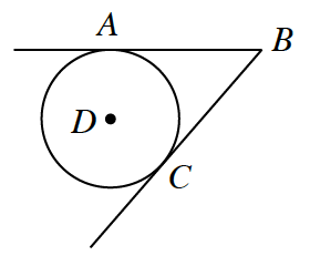 Circle, with center, D, and points, a, and, c, on the circle, and point, b, outside the circle. Rays, b, a, and, b, c, create angle, A, b, c, with sides that are tangent to the circle