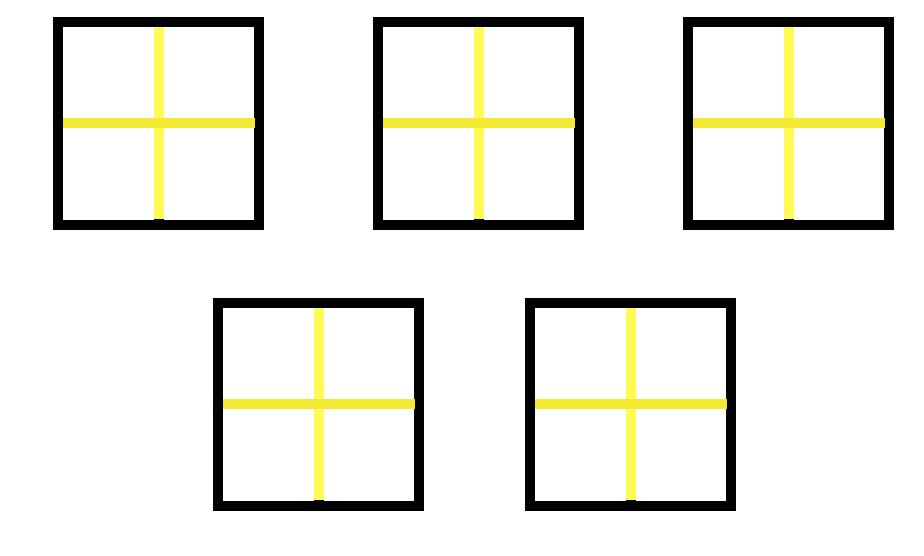 5 squares, each divided into 4 equal sections.