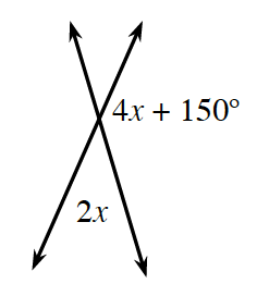 Two intersecting lines.  About the point of intersection are the angles labeled  clockwise: blank, 4 x + 150  degrees, 2 x and blank.