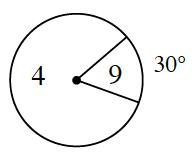 Ruleta dividida en 2 secciones. Una sección está rotulada 9 con un ángulo de 30 grados y la otra sección está rotulada 4.