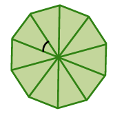 A regular decagon, divided into 10 sectors, with the central angle, of one sector, marked.