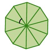 Decágono regular dividido en 10 sectores, con el ángulo central de uno de los sectores marcado.