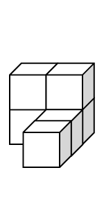 6 cubes such that the first row has two cubes with a cube on top of each for a total of 4 cubes. The last two cubes are in the second and third rows under the second cube in the first row.