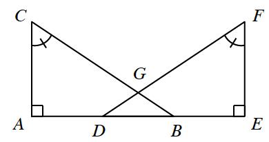 Line segment A,E, contains points D, & b. Segments B,C, & D,F, intersect at g. Segments A,C, & F,E, are each perpendicular to A,e. Segments create 3 triangles: right triangles, A,B,C, & D,E,F, & triangle D,B,g. Angles, c, & f, each labeled with 1 tick mark.