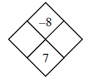 Diamond Problem. Left blank,  Right blank, Top negative 8,  Bottom 7