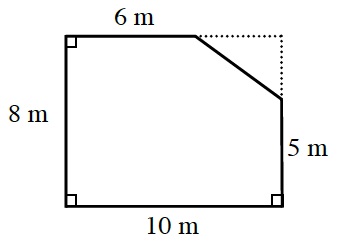 An enclosed figure, starting at the top left, go right 6, diagonally down and right an unknown amount, down 5 m, left 10 m, up 8 m to enclose the figure. Dashed lines, on the upper right, make the figure a rectangle.