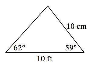 Triangle labeled as follows: right side, 10 cm, bottom side, 10 ft, bottom left angle, 62 degrees, bottom right angle, 59 degrees.