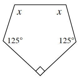 A pentagon with angles of x, x, 125 degrees, 90 degrees, and 125 degrees clockwise.