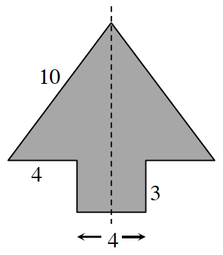 Enclosed polygon, resembling an upward arrow, comprised of a triangle, with rectangle centered on the bottom, with vertical dashed line down the middle of the arrow. Labels as follows: left slanted side is 10, left horizontal side is 4, right vertical side is 3, total bottom base side, 4.