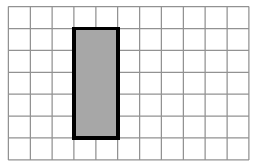 An enclosed figure: Starting at the upper left corner: right 2, down 5, left 2, up 5 to enclose the figure.