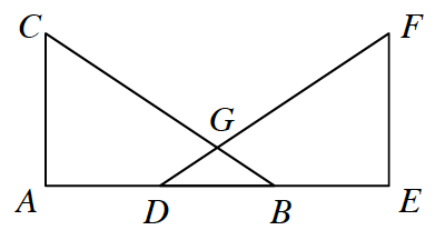 Rectangle A, C, F, E is created without the line segment C, F. On the line segment A, E are two additional points D and B such that from left to right are points A, D, B, and E. Triangle A, C, B and triangle E, F, D intersect at point G.