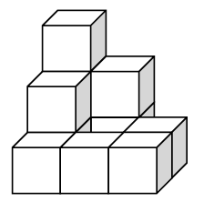 There are 11 cubes. From the front, there is 1 cube on the left side first row, 2 cubes, second row, and 3 cubes, third row. Center, first row, has 1 cube and third row, 2 cubes. Right side, first and second rows, each has 1 cube.