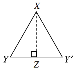 Right triangle X, Y, Z, is reflected across line X, Z to form triangle X, Y prime Z.