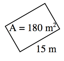 Rectangle, length = 15, A = 180 un squared