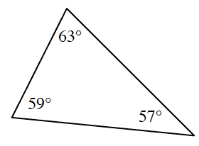 A triangle with the following interior angles: top 63 degrees, left 59 degrees, and right 57 degrees.
