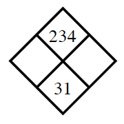 Diamond Problem. Left blank, Right blank, Top 234,  Bottom 31