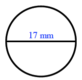 A circle with a  horizontal line segment, labeled 17 mm, across the circle and through the center.