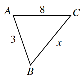 Triangle, A B C, with labels as follows: Side, A C, 8, side, B C, x, and side, A B, 3.