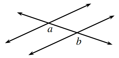 Two lines are cut by a transversal. The interior left angle between the top parallel line and the transversal is, a. The exterior right angle between the lower parallel line and the transversal is, b.