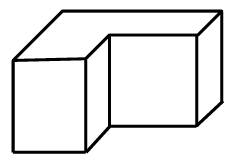 A 3 dimensional diagram, showing the front, right, and top sides, of an L shaped box.