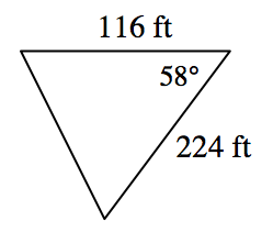 triangle with two sides 116 and 224 and one angle 58 degrees