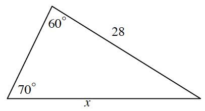 Triangle, horizontal bottom labeled, x, right side labeled 28, bottom left angle labeled 70 degrees, top angle labeled 60 degrees.