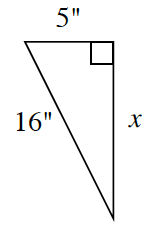 A right triangle with a hypotenuse of 16 inches, and legs X, and 5 inches.