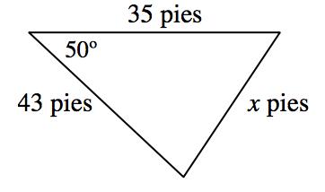 Triángulo rotulado como sigue: el lado horizontal, 35 pies, el lado derecho, x pies, el lado izquierdo, 43 pies, ángulo opuesto al lado derecho, 50 grados.